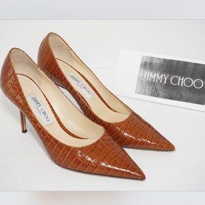 JIMMY CHOO Love 85 Pointy Toe Pump Textured BROWN
